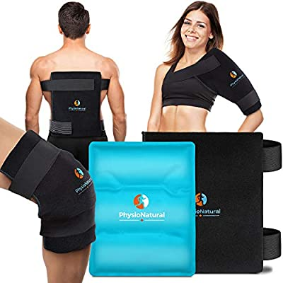 Large Flexible Gel Ice Pack & Wrap - Hot & Cold Therapy for Hip, Shoulder, Elbow, Back, Knee - Instant Pain Relief for Injuries, Recovery, Swelling, Aches, Bruises & Sprains - XL 11x14 inches (Black)
