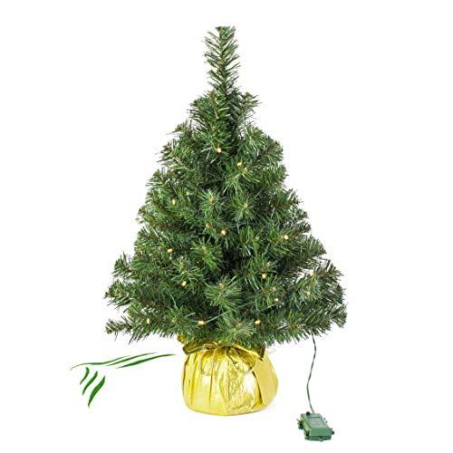 artplants.de Mini Albero di Natale Artificiale WARSCHAU con LED, Dorato, 60cm, Ø 40cm-Albero di Natale Piccolo/Albero con luci