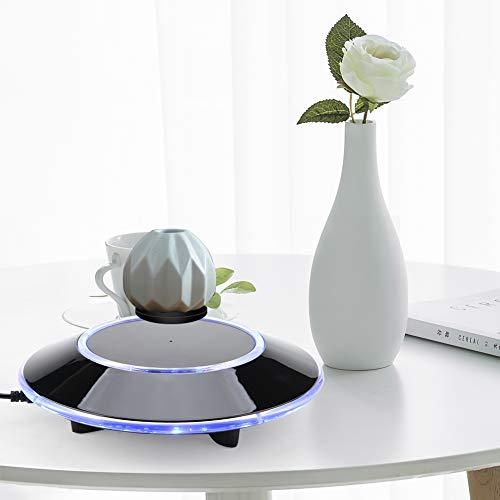zjchao Magnetische Levitationsplattform, LED Maglev Rotating Ion Revolution Platform Display Showcase Geschenk mit EZ Float Technologie für Home Office Dekoration (Schwarz)