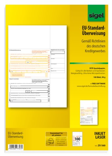Sigel ZV560 PC-EU-Standardüberweisung, OCR-Spezialpapier (Ink/Laser), beleglesefähig, MP, 90 g, A4, 100 Blatt