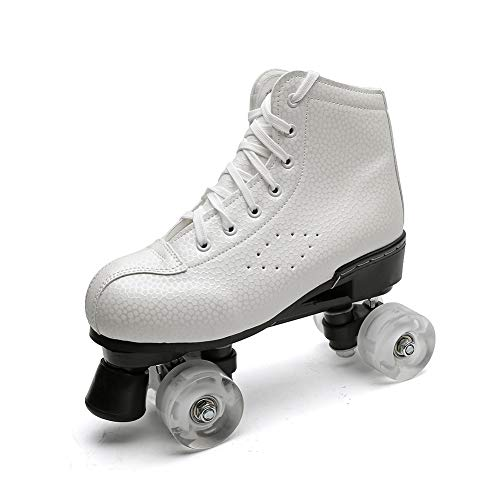 Chiximaxu Roller Skates for Adults High-top Quad Rink Roller Skate Outdoor Speed Skate Boots White 38