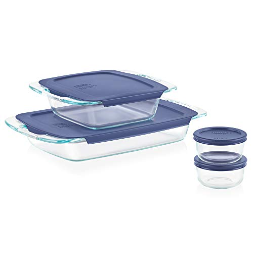 Pyrex Easy Grab Glass Bakeware and Food Storage Set, 8-Piece, Clear