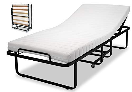 EINRICHTEN24 Gästebett, Klappbett, Raumsparbett 90 x 200 cm mit verstellbarem Kopfteil incl. Husse Rahmen schwarz