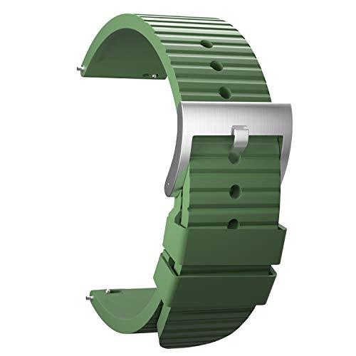 Ullchro Caucho Fluorado Correa Reloj Recambios Correa Relojes Caucho Suave Flexible Hombre Mujer - 20/22mm Correa Reloj con Hebilla de Acero Inoxidable (22mm, Deep Green)