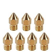BJJXTD 1.75mm 3.0mmフィラメント3Dプリンタ部品押出機銅押出部品のための5ピースMK7 MK8ノズル0.4mm 0.3mm 0.5mm 0.5mm (Size : 0.3mm 1.75mm)