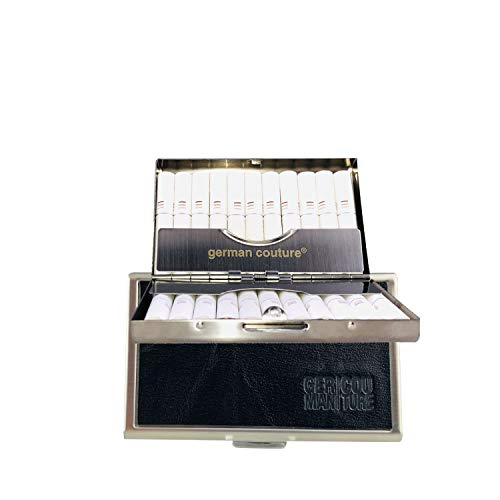 Duitse Couture® het origineel - hittebestendige hoes voor IQOS sticks met nobele premium vintage leer - elegante sigarettentas geschikt voor houder + zaklader 2.4 3 Duo Plus Multi (Cognac) Zwart