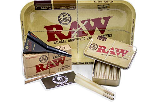 Bundle 4 Items:Raw King Size Cones ( 15 count) + Raw Loader + Raw Rolling Tray+Raw Metal Tin