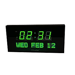 Diastar Big Oversized Digital LED Calendar Clock with Day and Date - Shelf or Wall Mount (16 Inch, Green)