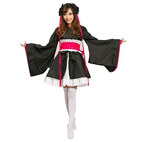 Mujeres Traje de Criada Tradicional Japonesa Kimono Flores de Cerezo Anime Cosplay Lolita Disfraz Ropa Outfit Maid Costume Dress (3Negro, S)