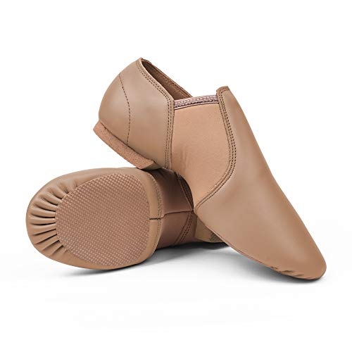 STELLE Leather Jazz Slip-On Dance Shoes for Adult Women(Tan, 8MW)