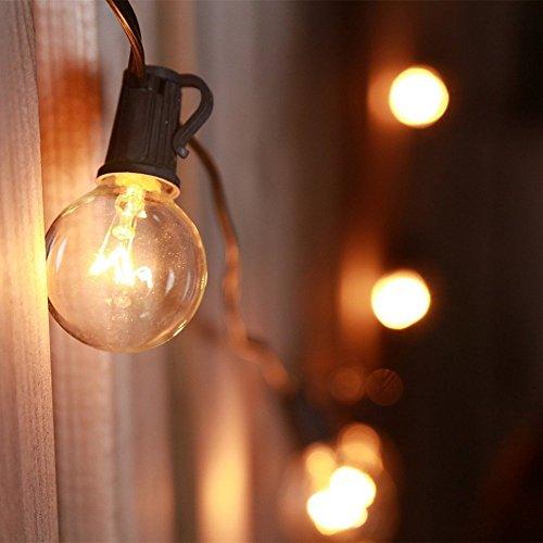 catena luminosa lampadina,impermeabile Globo luci Della Stringa con 25 G40 lampadine, Uso Interno/Esterno, Perfetto per Patio, Giardino, Casa, Matrimonio, Festa (includono 27 lampadine)