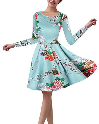 ZANZEA Damen Langarm Blumen Ballkleid Rundhals Hohe Taille Knielang Abendkleider A Line 02-blau EU 36/US 4