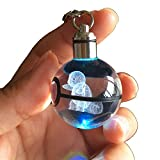 S-SO 3D Crystal Ball Night LED Color Changing Lighting up Keychain (sq)