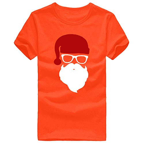 Goosun Men's Short-Sleeve Crew Neck Stretch T-Shirt Santa Claus Print Novelty Christmas Holiday Humor Unisex T-Shirt Regular Christmas Hawaiian Shirt Party Casual Beach Shirt