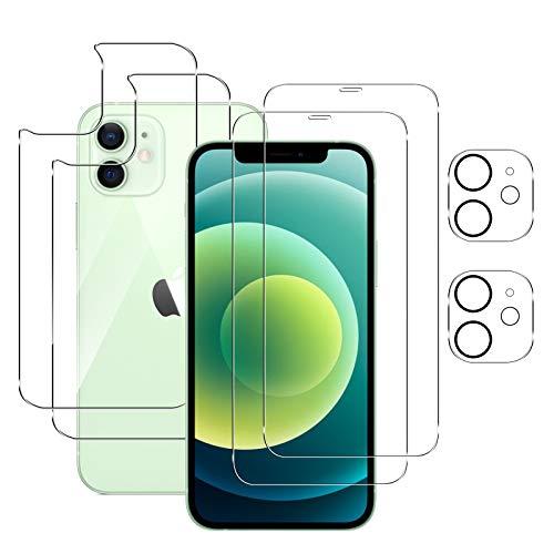 "Aerku Compatible con Protector de Pantalla + Cámara Trasera Lente Protector +Trasera de Vidrio Protector iPhone 12 Mini 5.4"" [6 in 1], Alta Sensibilidad Resistente a Arañazos Cristal Templado"