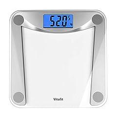 Vitafit Digital skala personlig skala tillverkad av härdat klart glas, kroppsvåg med step-on teknik,Stor LCD-display, 5kg-180kg