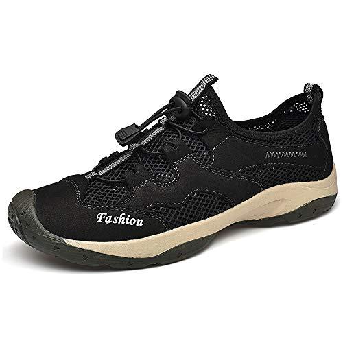 IENNSA Zapatos de Senderismo Zapatos de Escalada al Aire Libre para Hombres Zapatos Deportivos Malla Vamp Lace Up Toe Redondo Cuero Genuino Transpirable Casual Ligero Impermeable