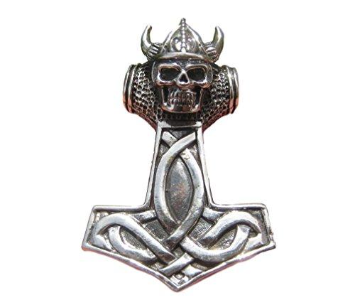 Himalayan Treasures Casco de calavera Vikingo plata 925 Mjolnir Mjolhner Martillo de Thor colgante A21