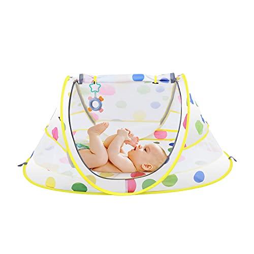 Reisebett Insektenschutz Universal feinmaschiges Pop-Up Portable Baby Strandmuschel Moskitonetz für Babybetten Stubenwagen Leicht Kompakt Faltbar Inkl Trage Tasche Moskitonetz pink/gelb