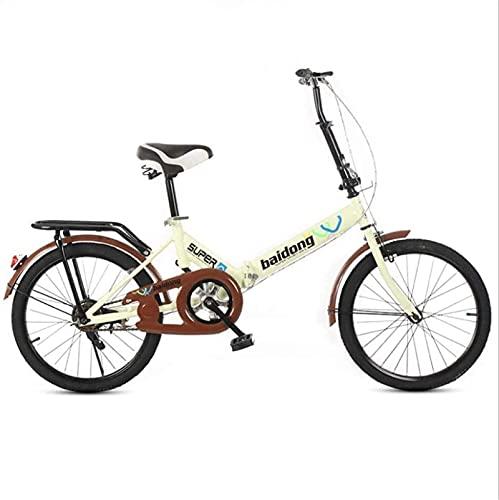 Bicicletas de montaña, bicicleta plegable de 20 pulgadas para estudiantes, bicicleta plegable sin velocidad, bicicleta que absorbe los golpes, cuadro de aleación con frenos de disco (color: amarillo