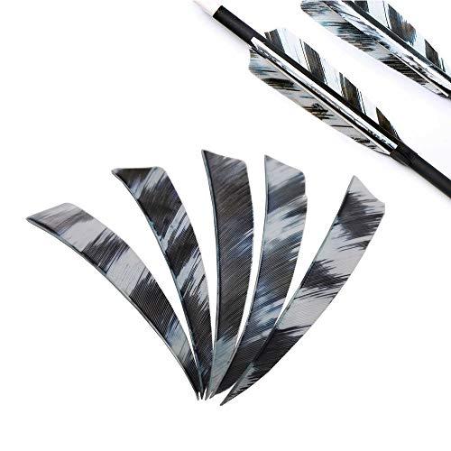 MILAEM 50 Piezas Plumas de Flecha Tiro con Arco 4 Inch Fletches Naturales Fletching para DIY Flechas de Caza Alas derechas