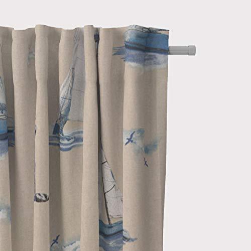 SCHÖNER LEBEN. Vorhang Maritim Leuchtturm Segelboote Natur blau 245cm oder Wunschlänge, Gardinen Aufhängung:Smok-Schlaufenband