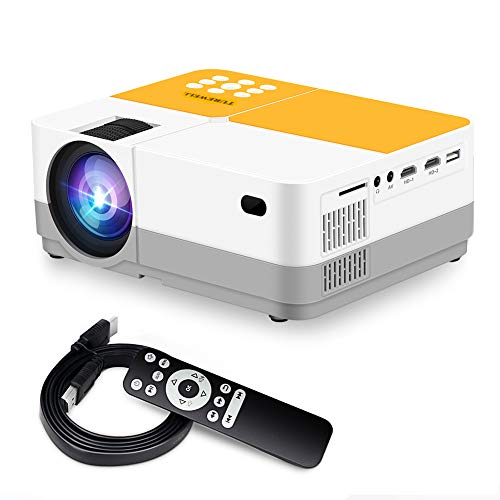 "TUREWELL H3 Projector Video Projector 3600 Lumens Native 720P LCD Mini Projector 180"" 55000 Hours Support 2K HD/VGA/AV/USB/SD Card/Headphone Compatible with TV Stick/Home Theater/PS4"