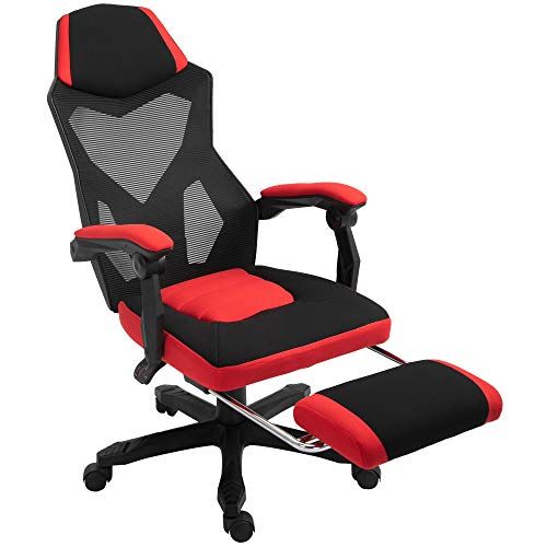 Vinsetto Ergonomic Home Office Chair High Back Armchair Computer Desk Recliner with Footrest, Mesh Back, Wheels, Red