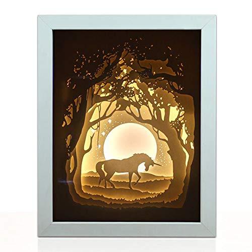 Prtukytt Scultura Unicorn Carta Fatta a Mano di Natale della Lampada Lampada da Tavolo Intagliato con la Collezione d'Arte del Valore Sorgente Luminosa a LED Protegge Entrambi Gli Occhi