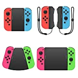 Fyoung 5 in 1 Hand Grip Connector Pack Compatible with Nintendo Switch and Switch OLED for Joy Con with Wrist Strap, Game Handle Connector for Joy Cons