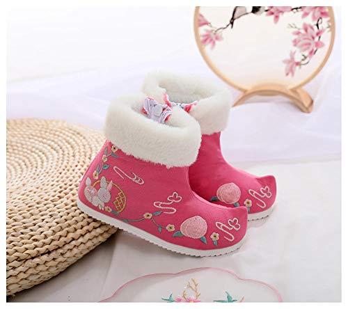 YUTJK Damen Herren Hausschuhe aus Drinnen Pantoffeln im Herbst und Winter für Drinnen und Draussen,Mädchen bestickte Schneeschuhe-Pink_18CM