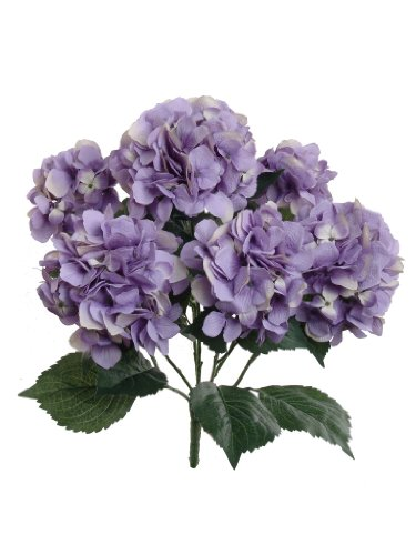 Hydrangea Silk Flowers Plant, Lavender, Indoor Home Decoration, Outdoor Plant, Wedding, Centerpieces, Bouquets, 2-Pack, Artificial Hydrangeas Bush with 7 Large Gorgeous Bloom Clusters, Leaves, Stems