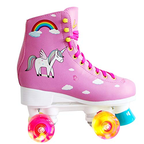 LIKU Quad Roller Skates for Girl and Women with All Wheel Light Up,Indoor/Outdoor Lace-Up Fun Illuminating Roller Skate for Kid (Pink, 1-2)