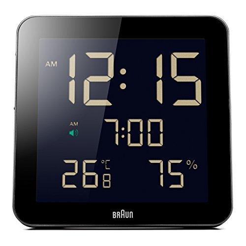 Braun BNC014BK Digitale wandklok met temperatuur- en luchtvochtigheidsweergave voor binnen, datum, dag van de week, negatief LCD-display, snelinstelfunctie, alarmfunctie, zwart, model