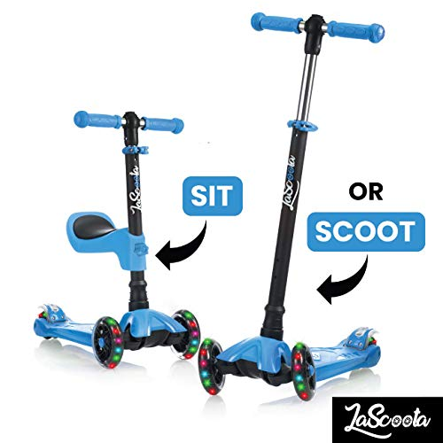 Lascoota 2-in-1 Kick Scooter with Removable Seat Great for Kids & Toddlers Girls or Boys – Adjustable Height w/Extra-Wide Deck PU Flashing Wheels for Children from 2-14 Years Old (Blue with Yellow)