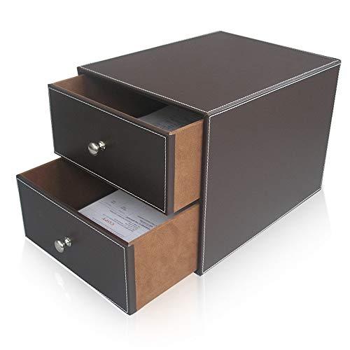 JenLn Leder Schreibtisch-Organisator mit 2 Schubladen Executive Office Supplies Desktop-Filing A4 Aktenschrank Halter stapelbare Aufbewahrungsbox (Color : Brown, Size : 25.5x33.5x24.5cm)