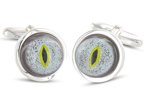 Grom boutons de manchette yeux bleus argent lézard
