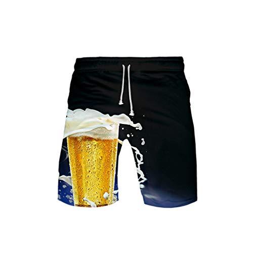 WOZOW Beach Shorts Kurze Hose Damen Herren Loose Oktoberfest Bierfest Print Bedrucktes Druck Kostüm Midi Freizeithose Stoffhose Casual High Waist Lustig Cargo Trousers (5XL,Schwarz-Blauer)