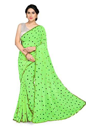 Mirchi Fashion Traditionellt indiskt tjusigt överallt cirkulärt mönster saree för kvinnor med & spegel spets kant & blusstycke, gRÖN, en storlek