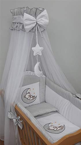 Bettwäsche-Set für Kinderbett, 90 x 40 cm, für Schaukelwiege, Bär, Mond, Grau, 10-teilig
