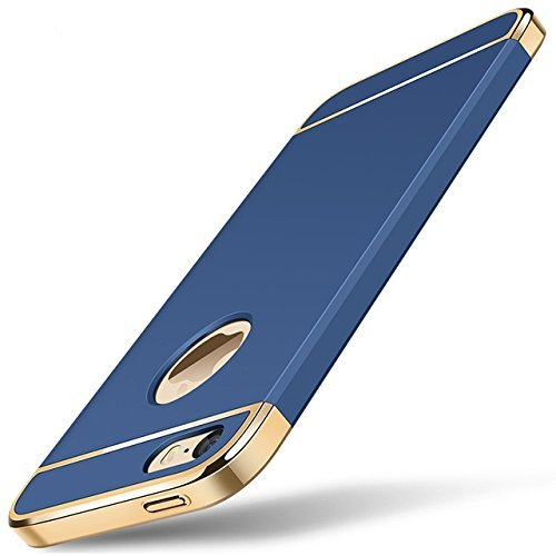 GoldKart *3-in-1 Dual Layer Thin Back Cover Case for Apple iPhone 5/5S/SE (Blue)