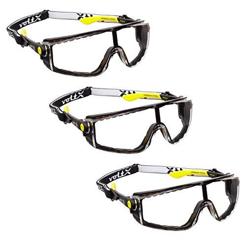 3 x voltX 'Quad' 4 in 1 - Lectura Segura Gafas de Seguridad - Transparente - con inserci—n de Espuma y Diadema - certificaci—n CE EN166f