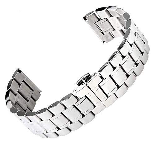 Beapet Watch Strap 18/19/20/22/24/26/28mm Width Silver Color Stainless Steel Watch Strap For Business Smart Watches Bracelet (Size : 18mm)