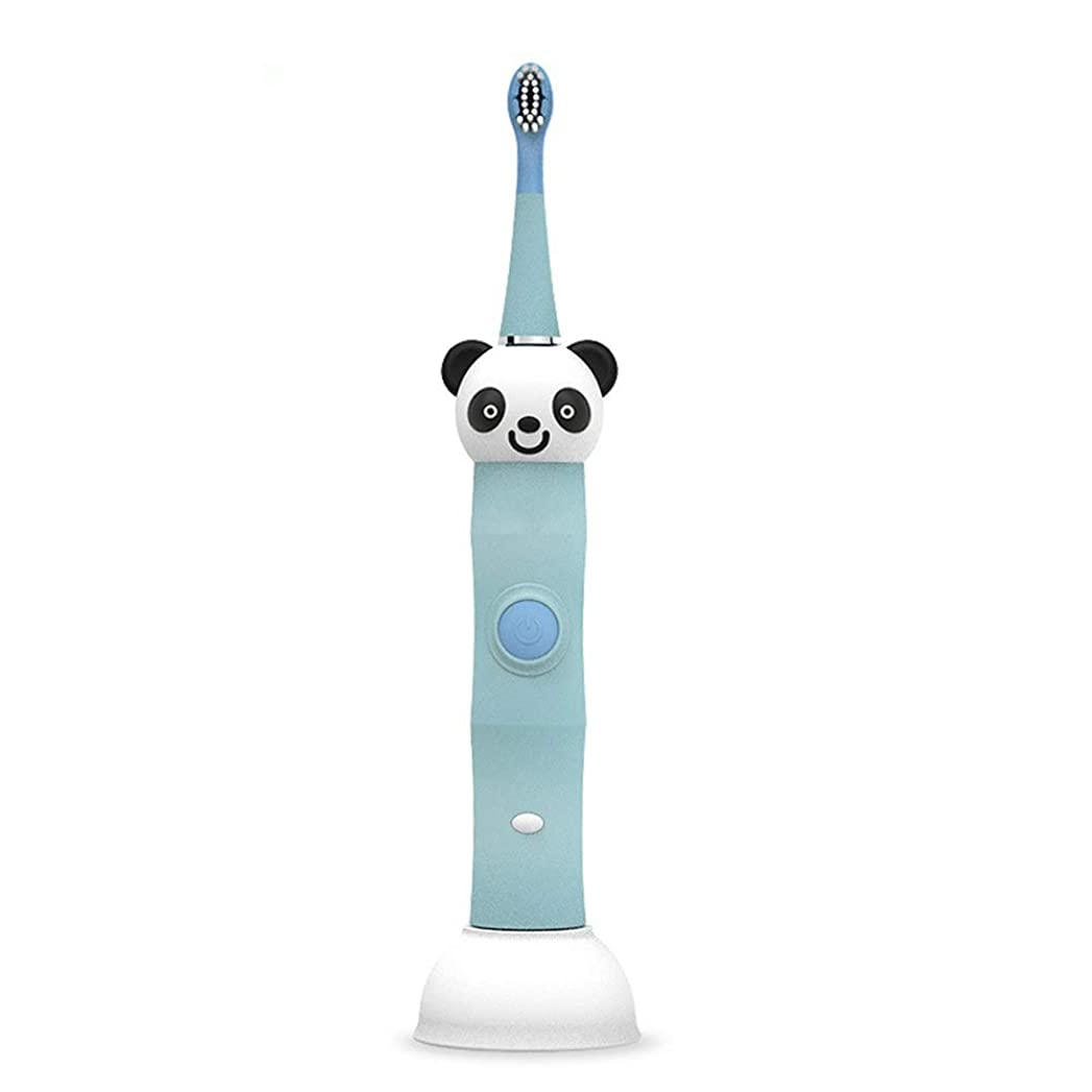 USB充電ベースソフトヘアクリーン歯ブラシで防水耐久性のある子供用電動歯ブラシ 完璧な旅の道連れ (色 : 青, サイズ : Free size)