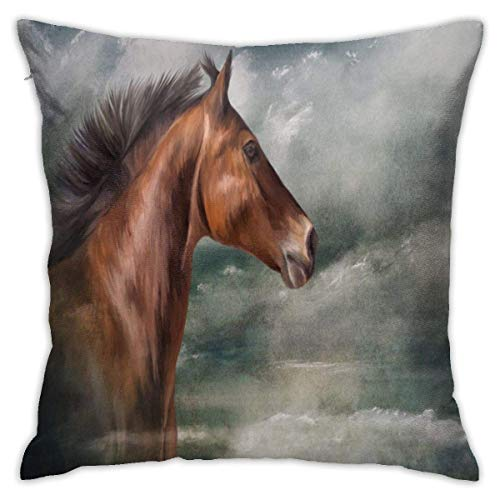 Fundas de cojín de cabeza de caballo marrón de 18 x 18 pulgadas,suave funda de almohada decorativa,funda de cojín para sofá,dormitorio,sofá,cama,silla,decoración para el hogar,sala de estar,coche,sofá