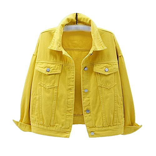 Kurtki damskie Nowa wiosenna kurtka dżinsowa Solidna bawełniana kurtka z regulacją w dół dla kobiet w dużych rozmiarach - Żółty, S