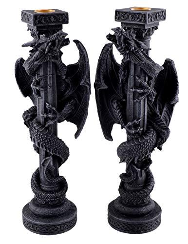 Vogler 766-3803 2er Set Kerzenständer Drache 31 cm Dragon Figur Kerzenhalter