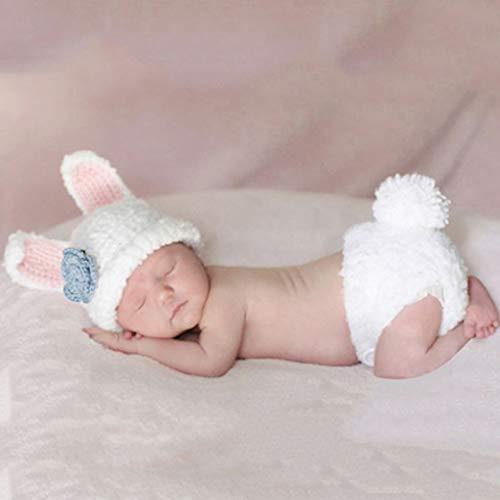 Yihaifu Accesorios de Fotos Blanco Lindo Estilo de Dibujos Animados Conejo para bebé recién Nacido Atrezzo fotografía del Muchacho del bebé del Ganchillo de la Gorrita Tejida de la Ropa del bebé