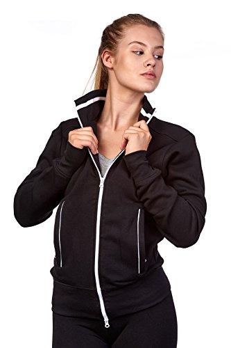 Happy Clothing Damen Sweatjacke mit Reißverschluss und Kragen ohne Kapuze im sportlichen Design, Elegante Jacke aus Baumwolle für Sport und Freizeit, Größe:L, Farbe:Schwarz