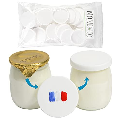 Monboco | Tapas para Vasos yogurtera |compatibles con Marca mercadona, la lechera, danone | diámetro 56mm | Blanca | Material de PEHD | Lote de 30 | Compatible con los Productos lácteos |